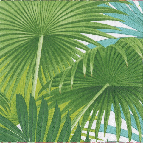 Green Palm Fronds White Napkin Dinner Napkin
