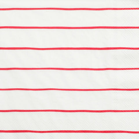 Red Frenchie Striped Large Napkins