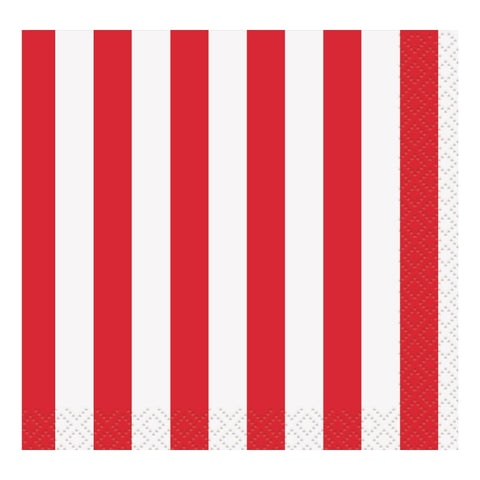 Ruby Red Stripes Small Napkins