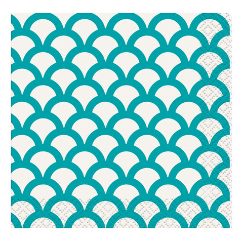 Teal Scallop Small Napkins