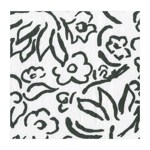 Black and White Matisse Floral Small Napkins