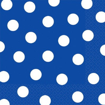 Royal Blue and White Dots Large Napkins