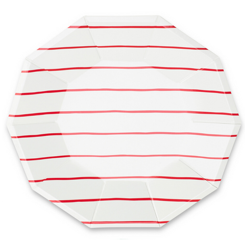 Red Frenchie Striped Large Plate