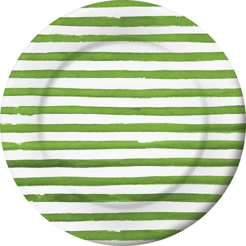Green and White Striped Watercolor Charger Plate