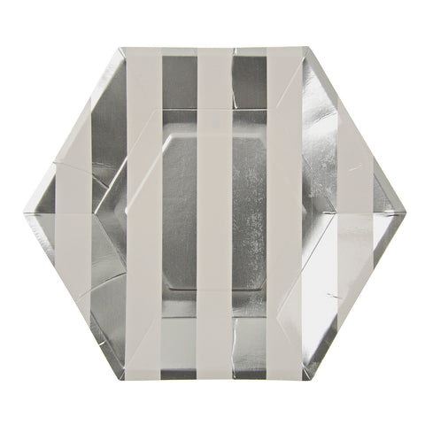 Silver and White Striped Hexagon Large Plate