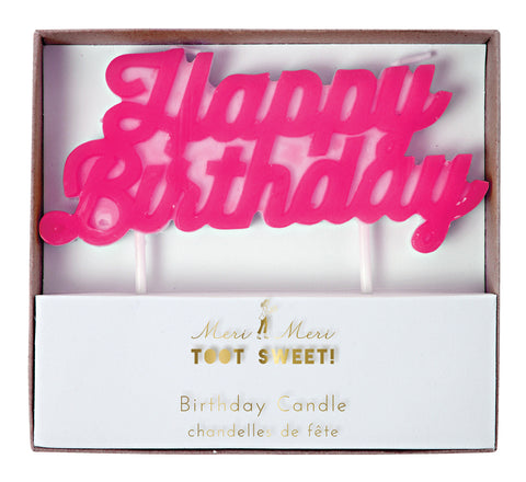 Hot Pink Happy Birthday Candle