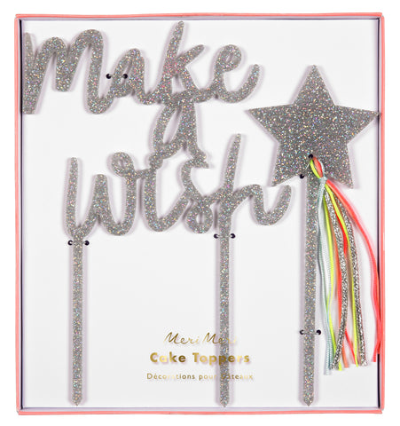 Silver Shimmer Make A Wish Cake Toppers