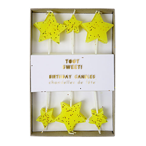 Yellow Glitter Star Candles