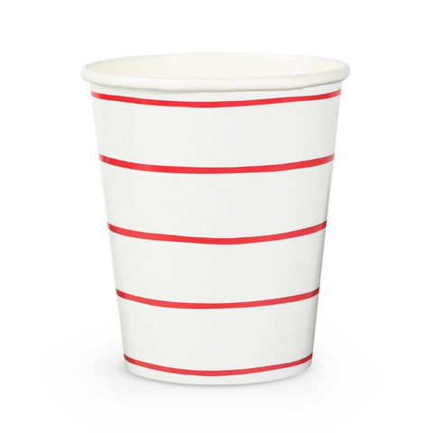 Red and White Frenchie Striped Cups