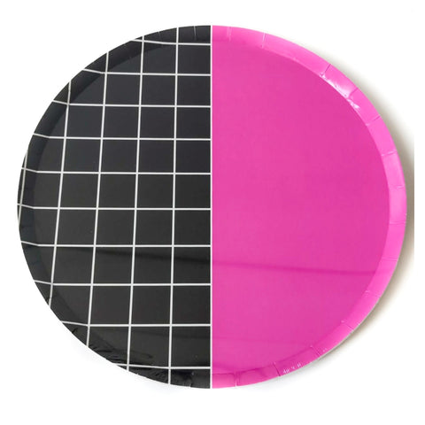 Pink & Large Grid Large Plate