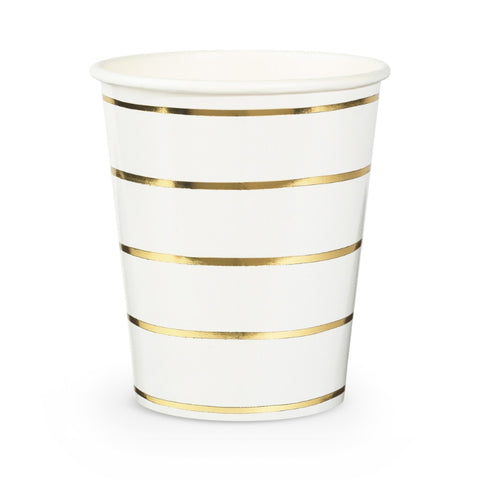 Gold and White Frenchie Striped Cups