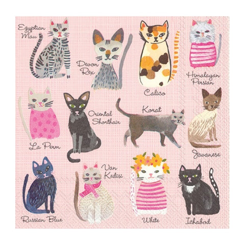 Pink Cool Cats Small Napkins