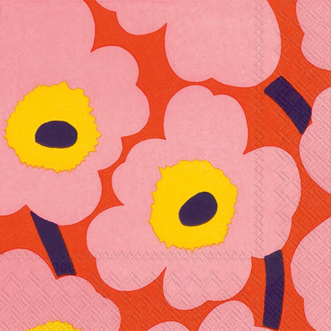 Rose Orange Unikko Marimekko Napkins