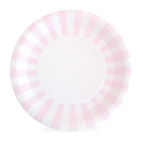 Marshmallow Pink and White Striped Large Plate