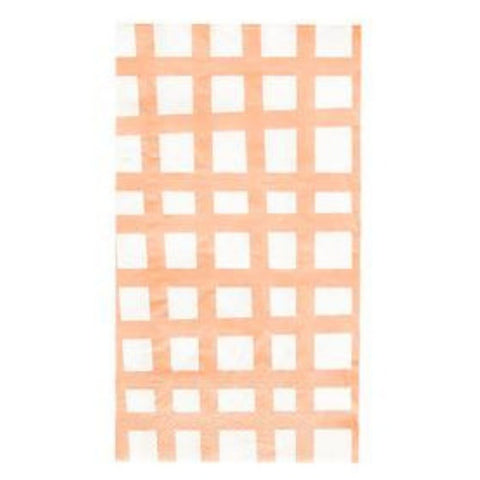 Coral Grid Guest Towels