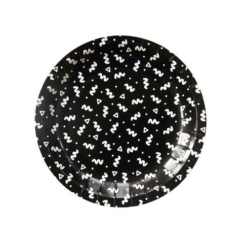 Black and White Art School Squiggle Paper Plate