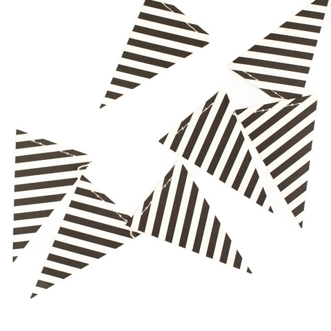 Black & White Diagonal Striped Pennant Banner