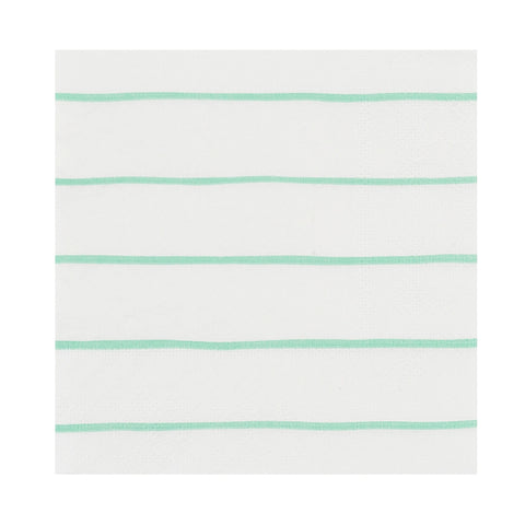 Mint Frenchie Striped Beverage Napkins