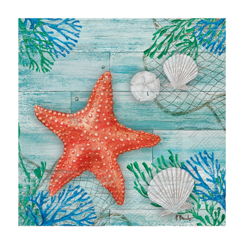 Turquoise Clearwater Crab and Starfish Small Napkins