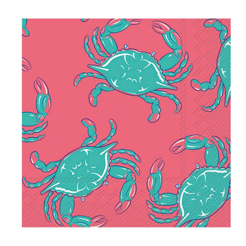 Pink and Turquoise Crab Small Napkins