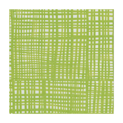 Green and White Raffine Small Napkins