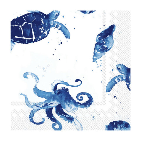 Blue and White Watercolor Under the Sea Small Napkins
