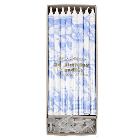 Royal Blue and White Marbled Birthday Candles