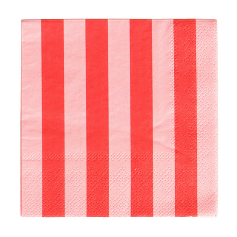 Blush & Cherry Striped Oh Happy Day Beverage Napkins