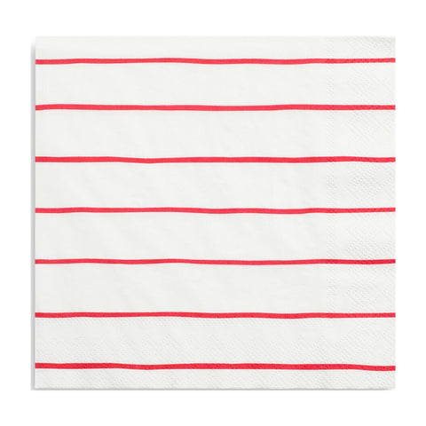 Red Frenchie Striped Beverage Napkins