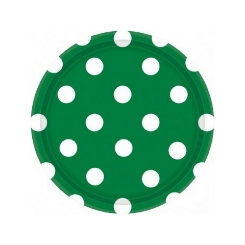 Green and White Dots Small Plate