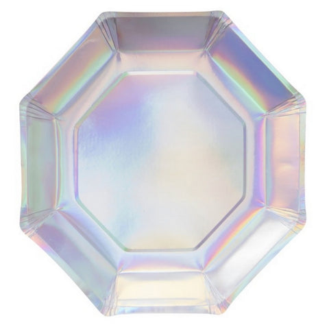 Silver Iridescent Large Plate