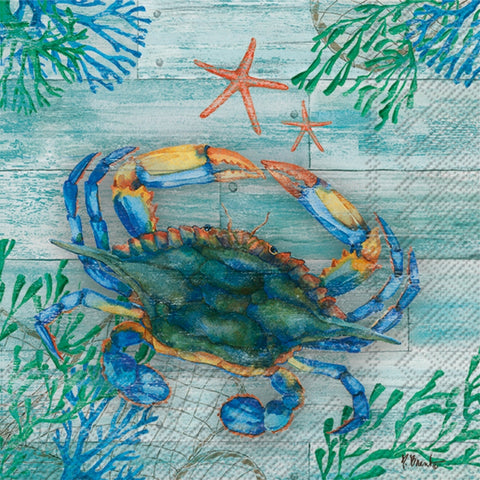 Turquoise Clearwater Crab and Starfish Large Napkins