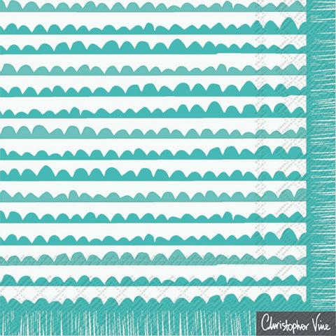 Turquoise and White Scalloped Large Napkins