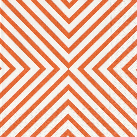 Coral and White Chevron Large Napkins