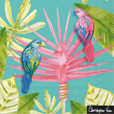 Turquoise Parrot Garden Large Napkins