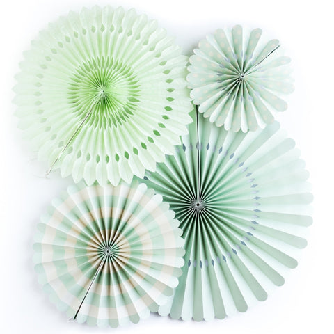 Mint and White Party Fans