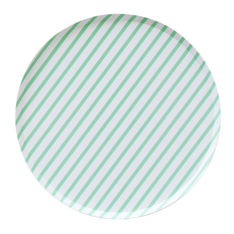 Mint and White Striped Oh Happy Day Large Plate