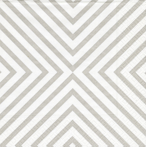 Silver and White Chevron Large Napkins