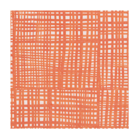 Orange and White Raffine Small Napkins