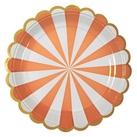 Orange and White Radial Large Plate