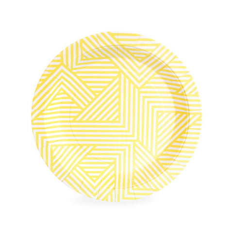 Yellow and White Geometric Small Plate