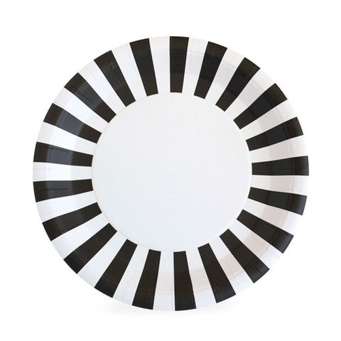 Black and White Black Tie Striped Large Plate