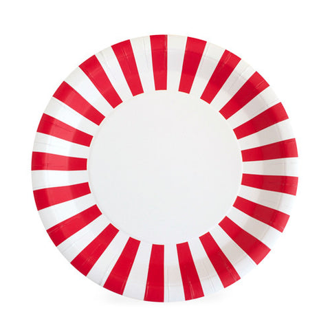 Red and White Candy Cane Striped Large Plate