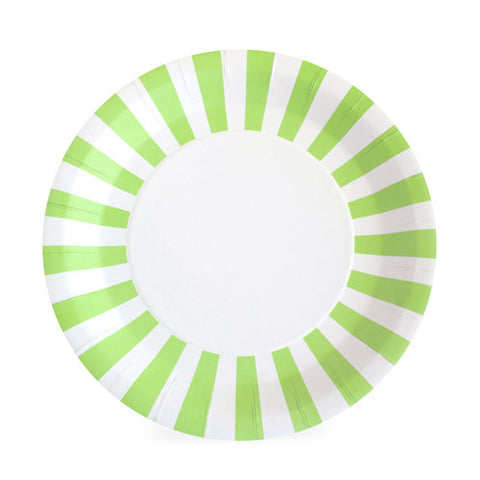 Green and White Striped Large Plate