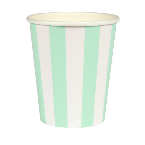 Mint and White Striped Party Cups