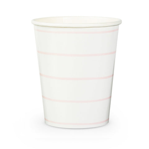 Pink and White Frenchie Striped Cups