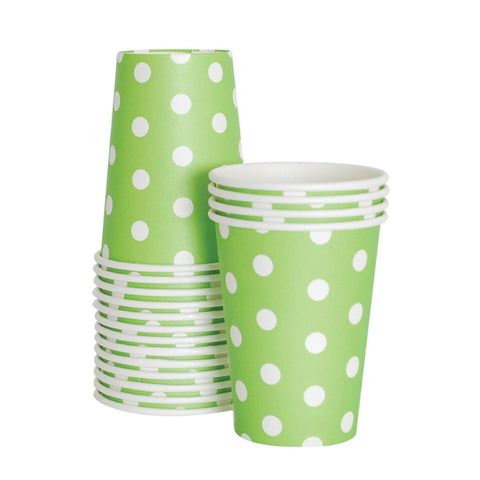 Green and White Dots Cups