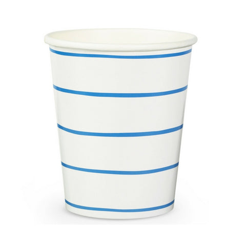 Blue and White Frenchie Striped Cups