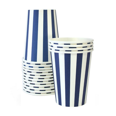 Navy Blue and White Striped Cups