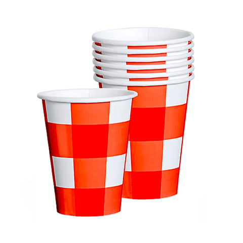 Red and White Summer Check Cups